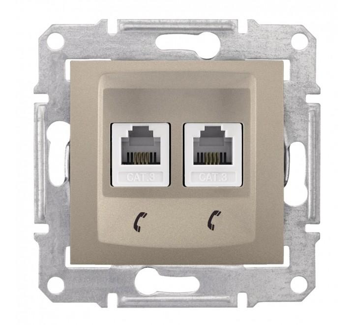 SCHNEIDER ELECTRIC ΠΡΙΖΑ ΤΗΛΕΦΩΝΟΥ RJ11 2 ΕΞΟΔΩΝ ΤΙΤΑΝΙΟ SEDNA SDN4201168