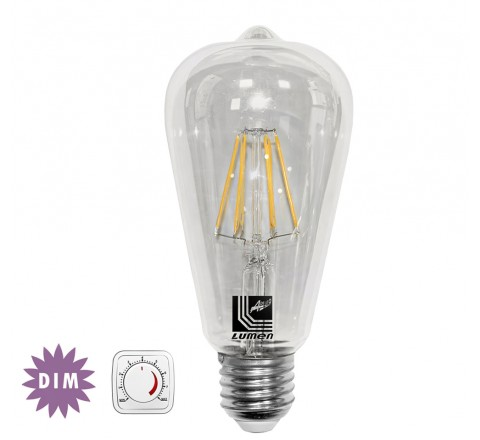 ΛΑΜΠΑ LED ΑΒΟΚΑΝΤΟ Φ64 E27 6W 700lm 230V 2800K FILAMENT DIMMABLE