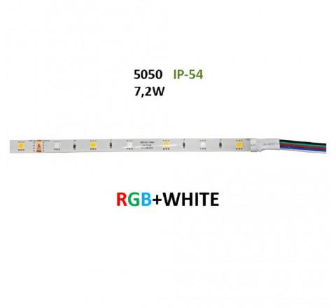 ΤΑΙΝΙΑ LED ΑΥΤΟΚΟΛΛΗΤΗ 7,2W/m 12V ΙΡ54 RGB & ΛΕΥΚΟ ΦΩΣ